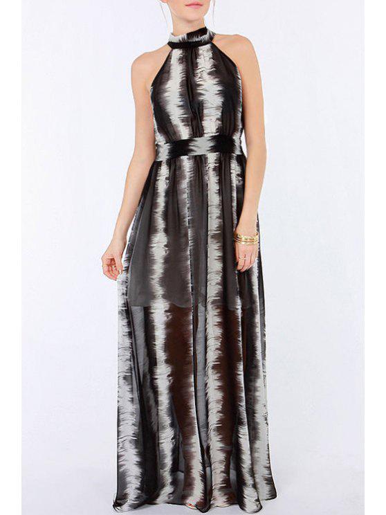 fancy Round Neck Black White Ombre Sleeveless Dress - WHITE AND BLACK S