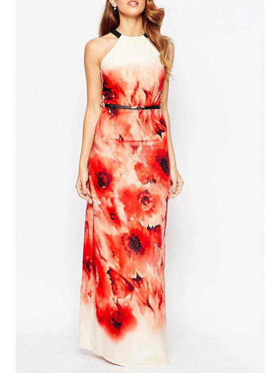 shops Flower Sleeveless Maxi Dress With Belt - RED S