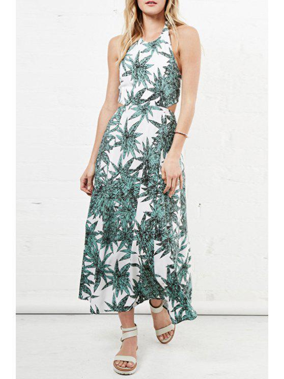 best Halter Neck Green Leaves Print Dress - GREEN S