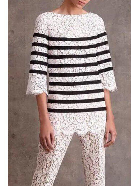 best Stripes Boat Neck Half Sleeve Lace Blouse - WHITE AND BLACK S