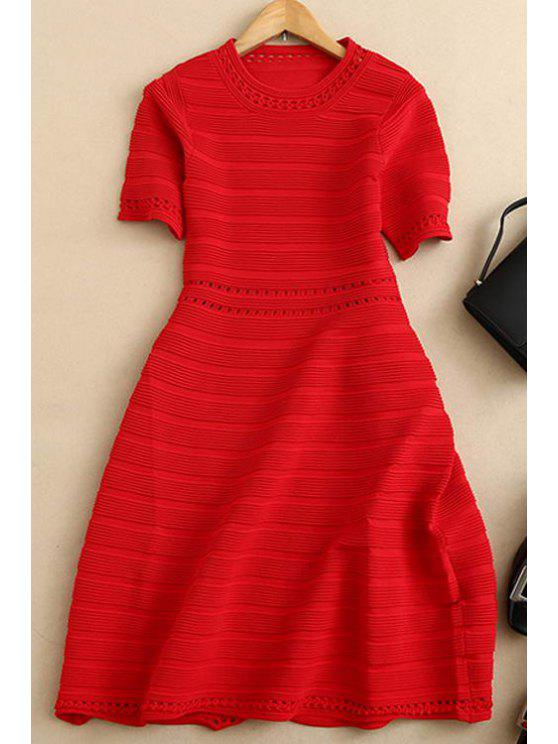 buy Striped Round Neck Short Sleeve Dress - RED S
