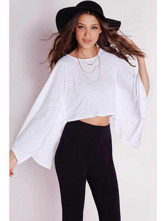 chic Wide Sleeve White Crop Top - WHITE S