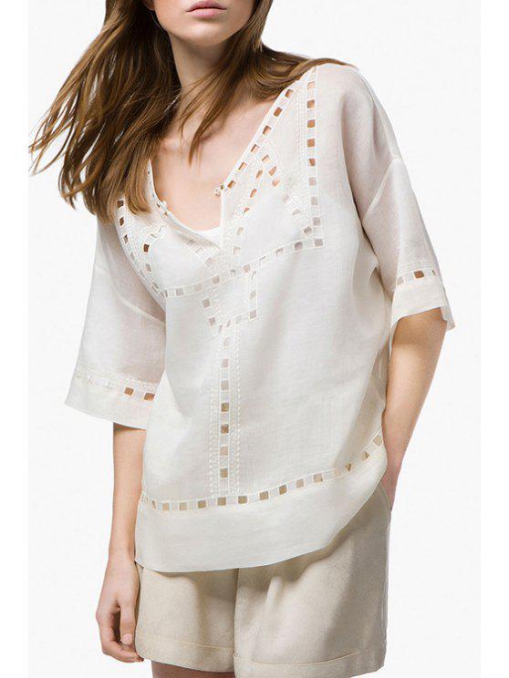 new White V Neck Half Sleeve Blouse - WHITE S