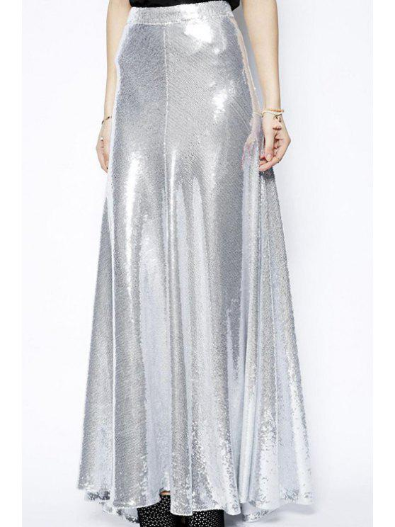 shop Silver Sequins Long Skirt - SILVER S