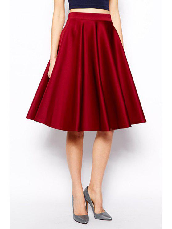 chic Solid Color Pocket Skirt - RED S