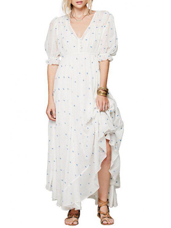 lady Tiny Blue Embellished Half Sleeve Dress - WHITE S