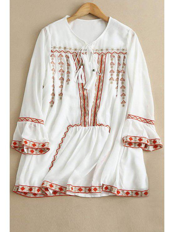 fancy Embroidery Round Neck 3/4 Sleeve Blouse - WHITE S