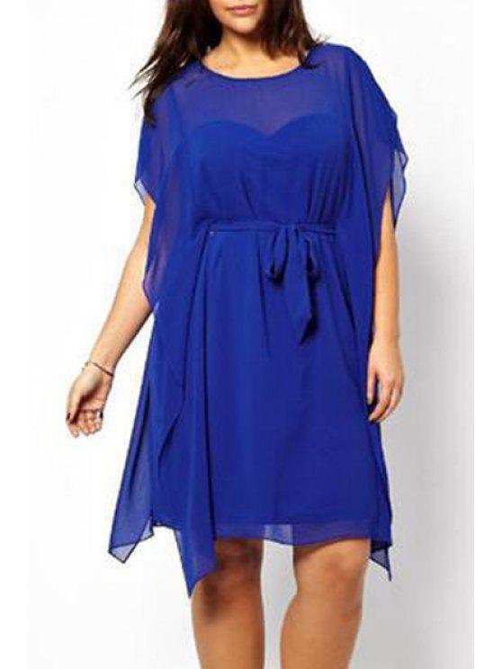 womens Dolman Sleeve Plus Size Tunic Dress - BLUE 3XL