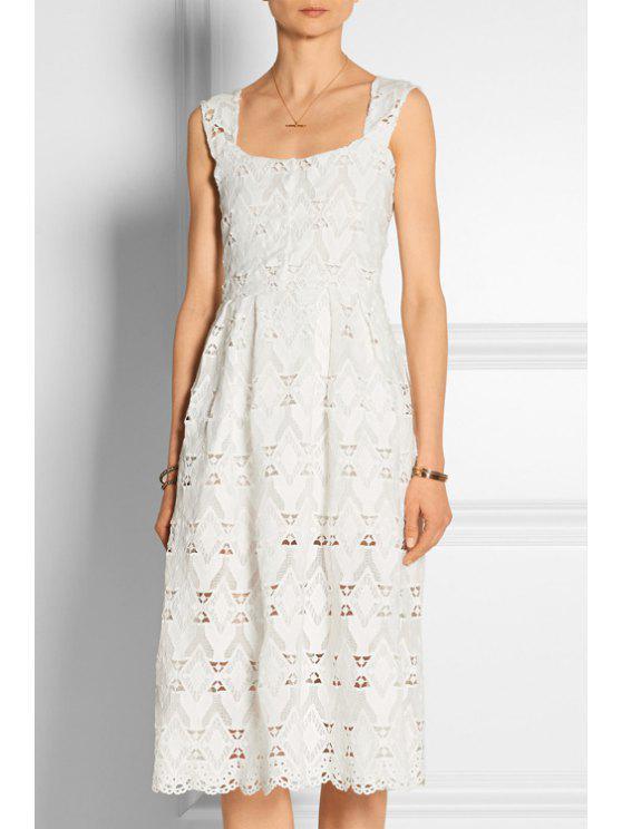 shop White Lace Square Collar Sleeveless Dress - WHITE S