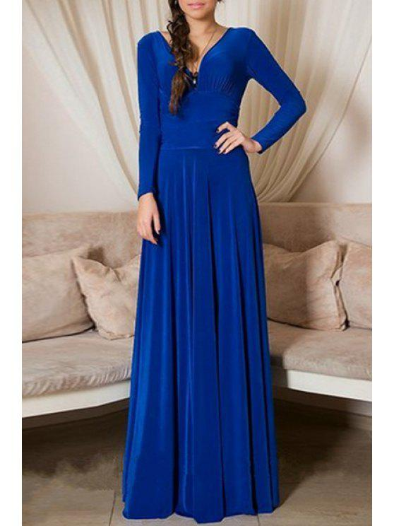 chic Deep V Neck Blue Backless Long Sleeve Dress - PURPLISH BLUE S