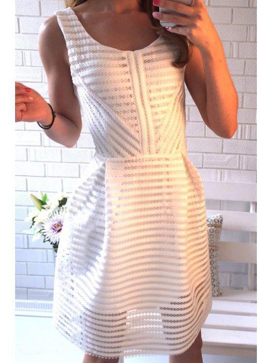 women's White Striped Scoop Neck Sleeveless Dress - WHITE S