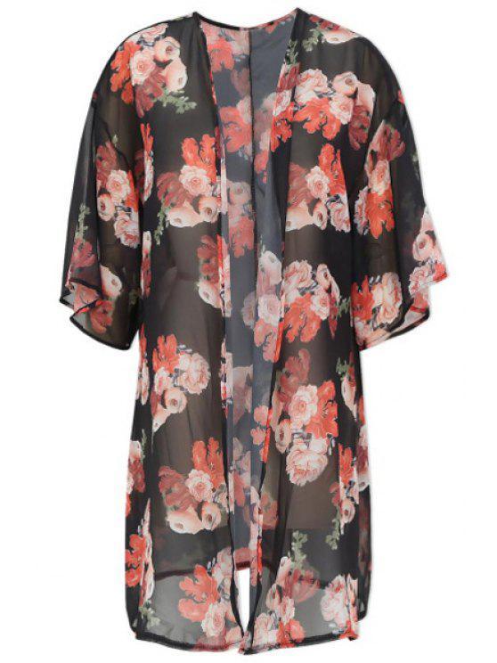 women Floral Half Sleeve See-Through Blouse - BLACK S