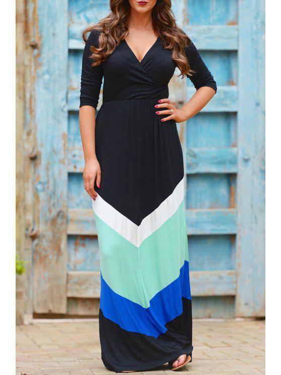 affordable V Neck Color Block Zig Zag Half Sleeve Dress - BLACK XL