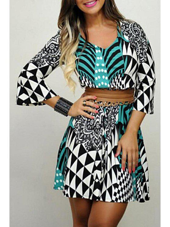 ladies Bell Sleeve Geometric Print Tunic Dress - WHITE AND BLACK S