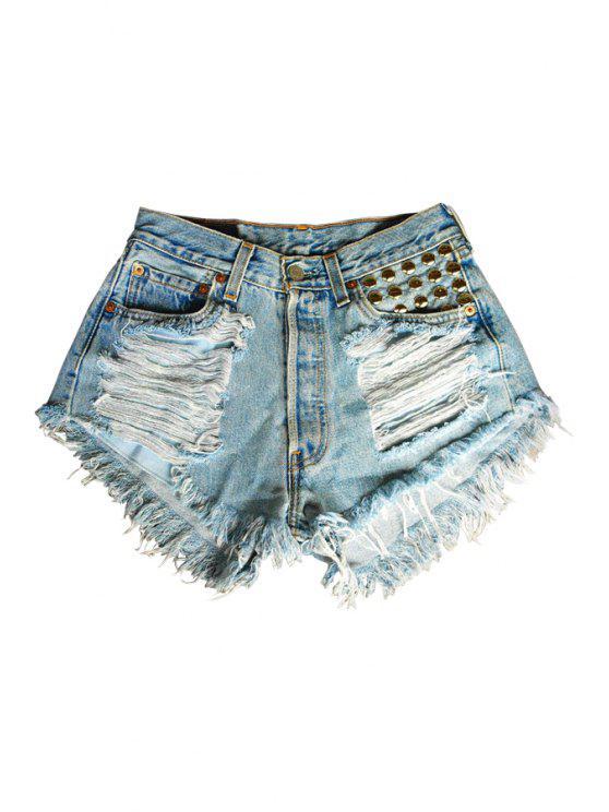 affordable Broken Hole Denim Fringe Shorts - BLUE S