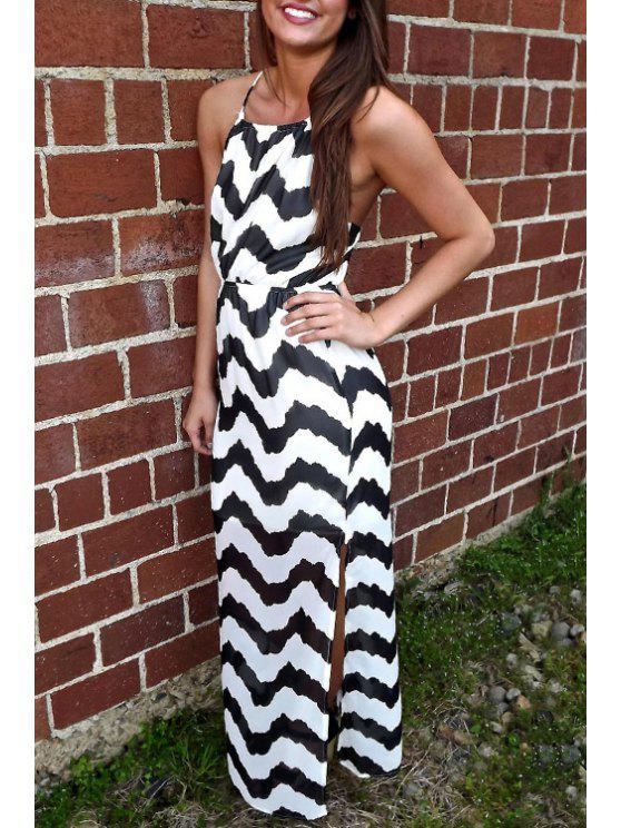 sale Spaghetti Strap Cross Zig Zag Backless Dress - BLACK S