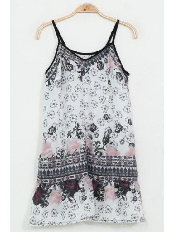 trendy Spaghetti Strap Vintage Floral Print Dress - BLACK M