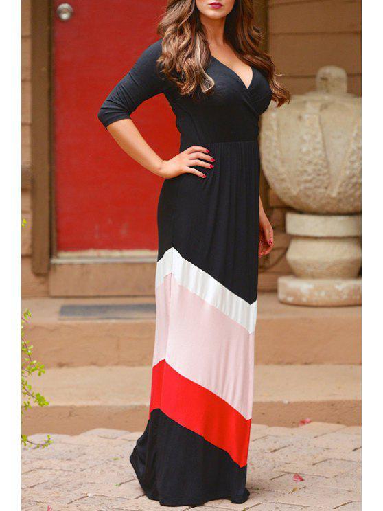 women's Zig Zag Color Block Half Sleeve Dress - WHITE AND BLACK XL