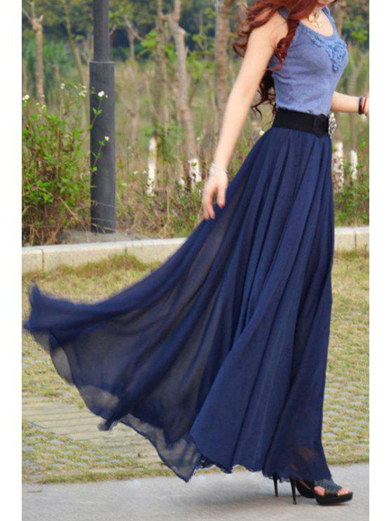 fashion Sleeveless Color Block Scoop Neck Maxi Dress - NAVY BLUE S