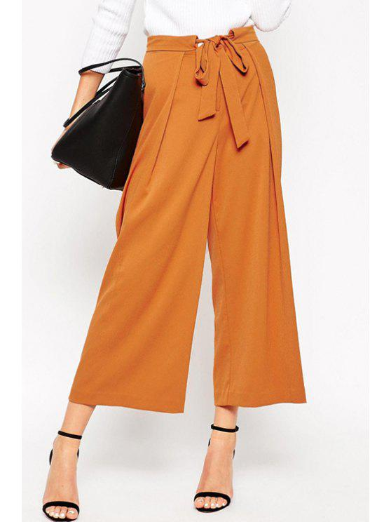 latest Soft Culotte With Tie Waist - CAMEL M