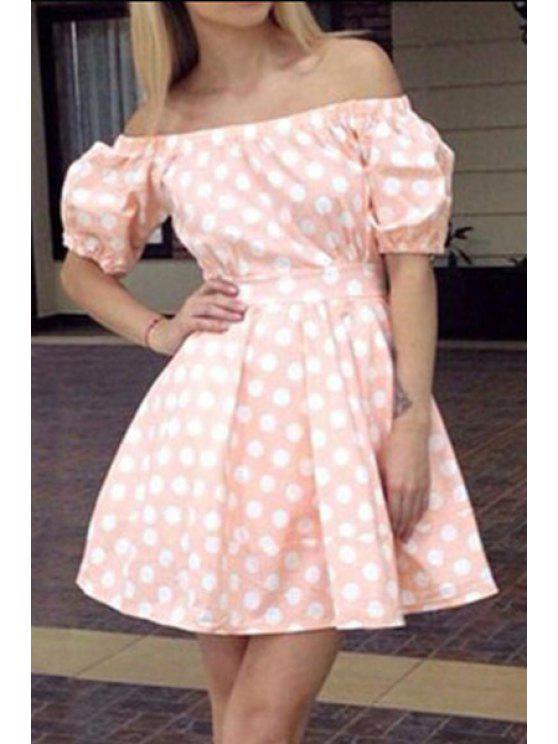 new Polka Dot Print Slash Neck Short Sleeve Dress - PINK S
