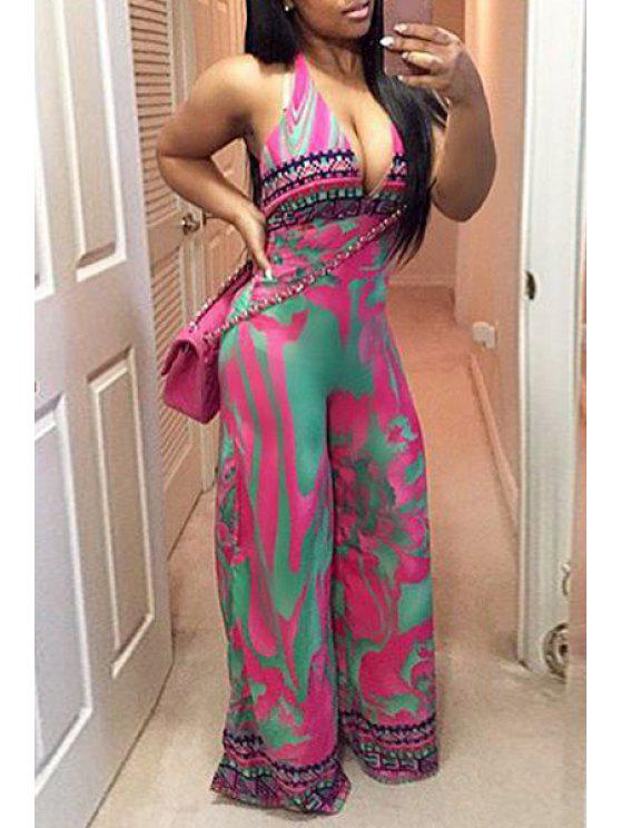 chic Halter Neck Color Block Printed Sleeveless Jumpsuit - ROSE S
