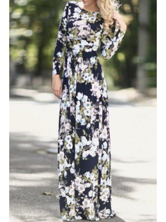 2c167362446 30% OFF  2019 Full Floral Print Long Sleeves Maxi Dress In BLACK
