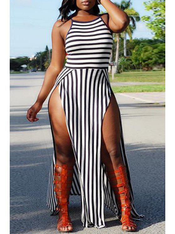 online Spaghetti Strap White Black Stripe Dress - WHITE AND BLACK S