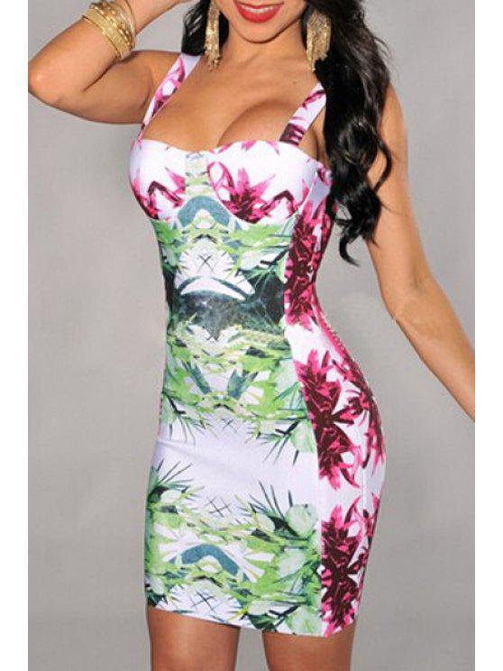 buy Leaves Print Sleeveless Bodycon Dress - GREEN S