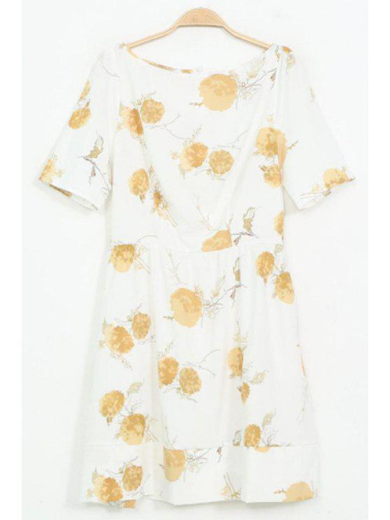 fashion Short Sleeve Yellow Floral Print Dress - YELLOW S