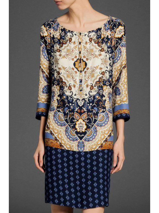 outfits Scoop Neck Floral Print 3/4 Sleeve Dress - PURPLISH BLUE S