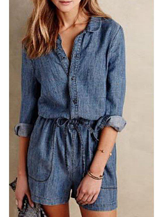 best Long Sleeve Single-Breasted Drawstring Playsuit - BLUE S