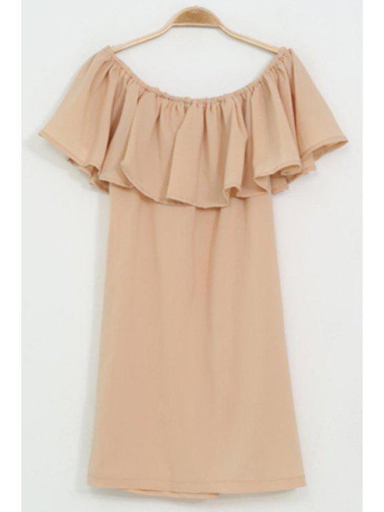 sale Slash Neck Ruffle Loose Dress - KHAKI S