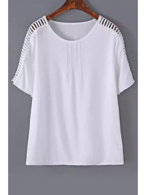 outfit Hollow Out Loose T-Shirt - WHITE L