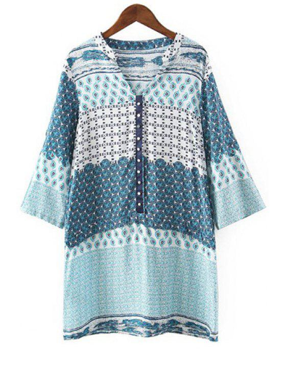 buy V Neck Tiny Floral Print Long Sleeve Dress - BLUE L