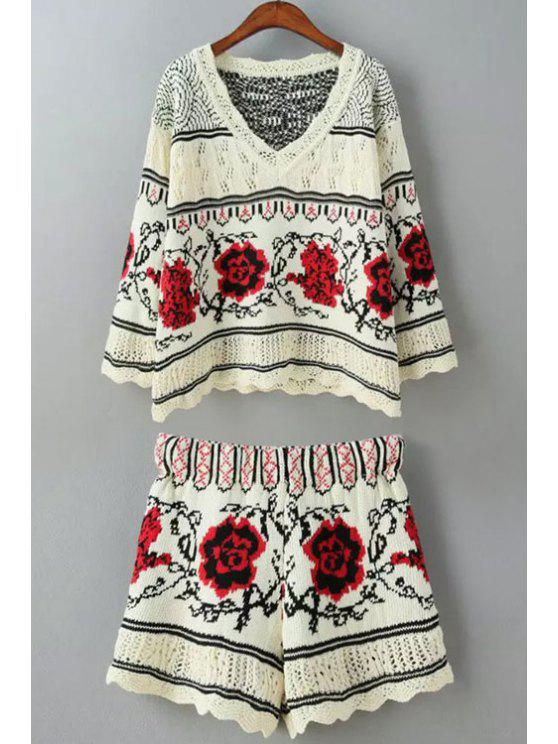 fancy Floral Pattern Long Sleeve Sweater + Shorts - RED ONE SIZE(FIT SIZE XS TO M)