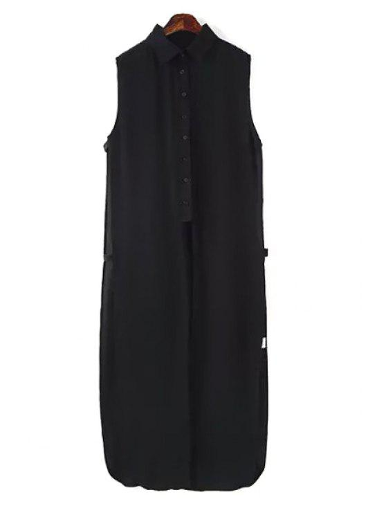 latest Sleeveless Single-Breasted Black Long Shirt - BLACK L