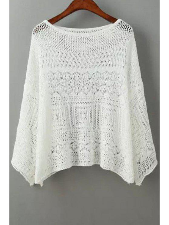 latest Scoop Neck Openwork Pure Color Sweater - WHITE ONE SIZE(FIT SIZE XS TO M)