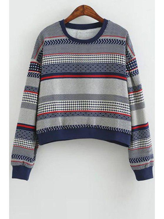 women's Color Block Stripes Long Sleeve Sweatshirt - BLUE ONE SIZE(FIT SIZE XS TO M)
