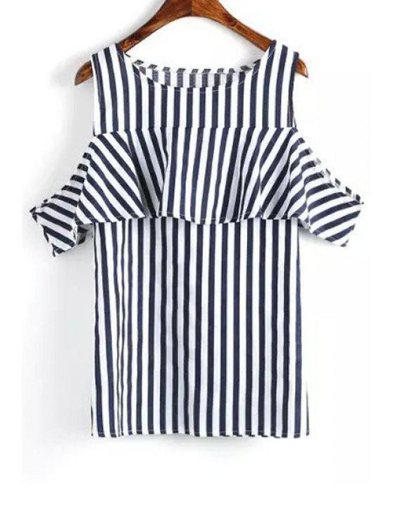 outfits Short Sleeve Striped Cut Out T-Shirt - BLUE AND WHITE S