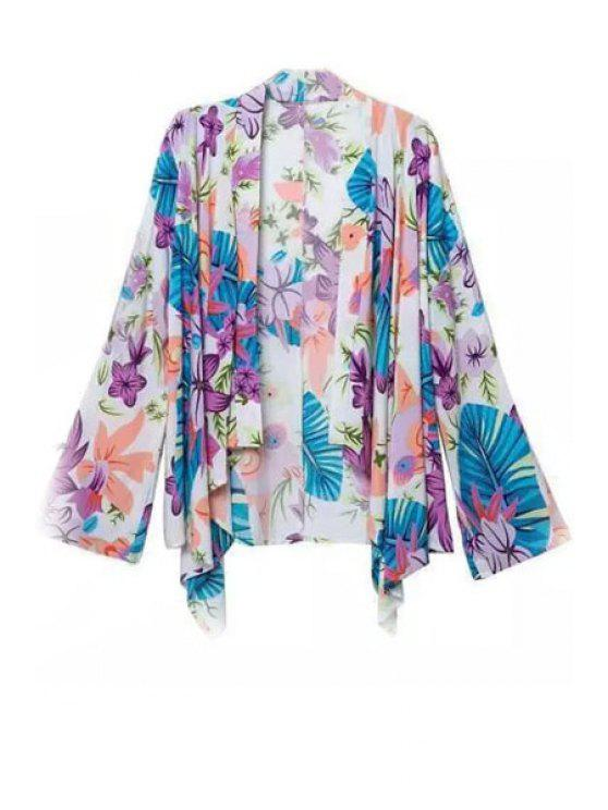 fancy Colorful Floral Printed Long Sleeve Blouse - COLORFUL S