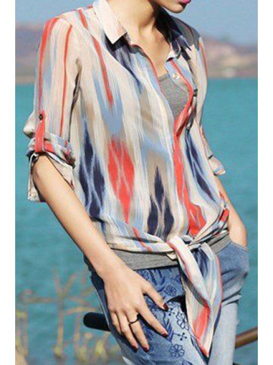 affordable Polo Collar Colorful Stripes Long Sleeve Shirt - COLORMIX S
