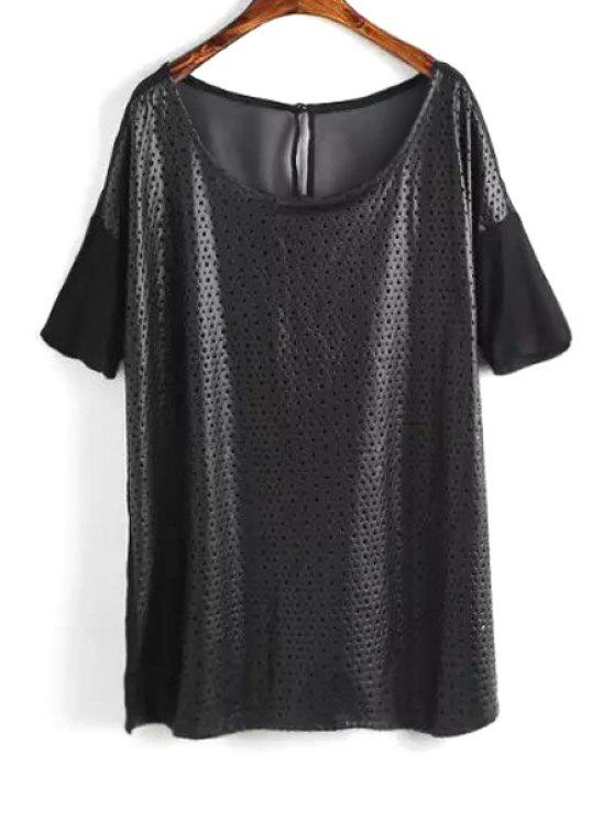ladies PU Leather Spliced Openwork T-Shirt - BLACK ONE SIZE(FIT SIZE XS TO M)
