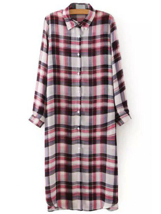 online Red Black Checked Long Sleeve Shirt - RED S