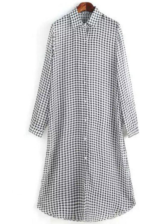 outfit Black White Checked Long Sleeve Shirt - WHITE AND BLACK S