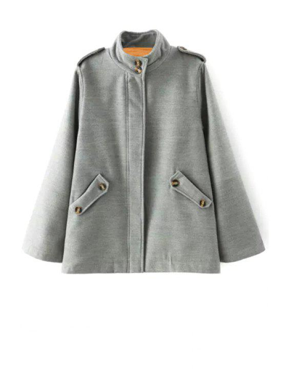 outfit Stand Neck Epaulet Pocket Woolen Coat - GRAY S