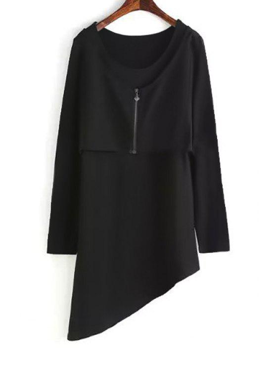 outfit Long Sleeve Layered Asymmetric Dress - BLACK S