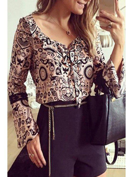 outfit Bird Print V Neck Long Sleeve Blouse - PINK S