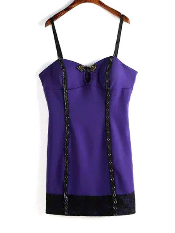 outfits Spaghetti Strap Lace Spliced Tank Top - PURPLE ONE SIZE(FIT SIZE XS TO M)