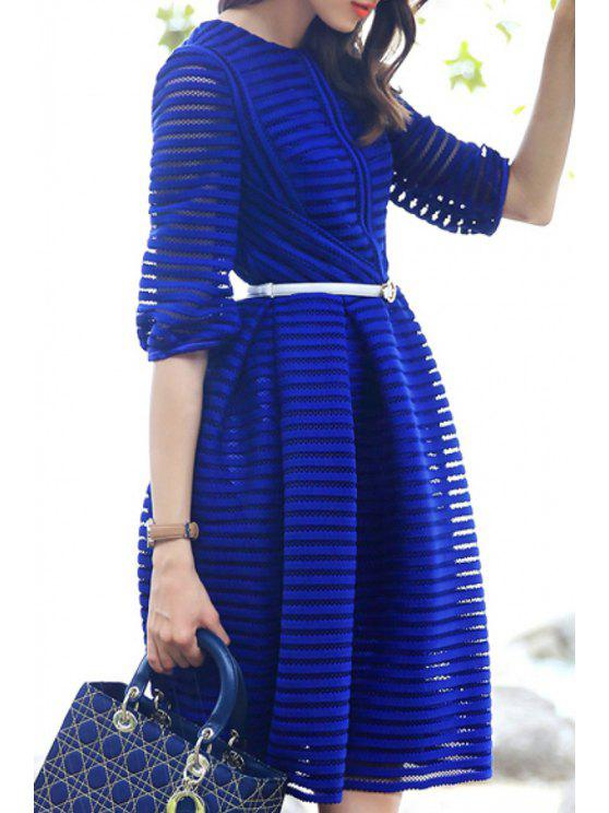 outfit Blue Round Neck Half Sleeve A Line Dress - BLUE S